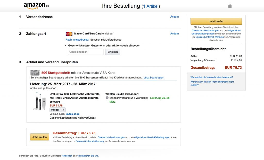 RIS Web- & Software Development - Kaufabbruch stop - Amazon Bestellprozess
