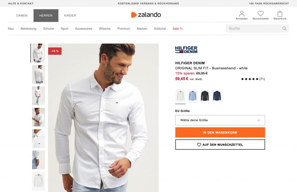 RIS Web- & Software Development - Kaufabbruch stop - Zalando Produktseite